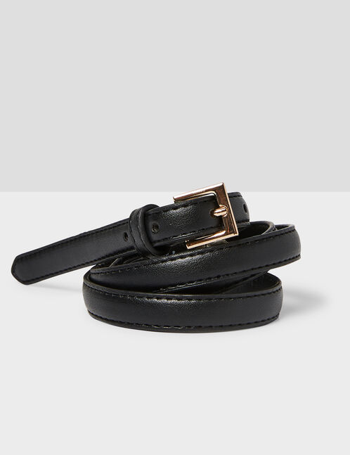 Camel and black skinny belts