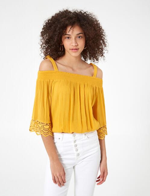 blouse épaules dénudées ocre