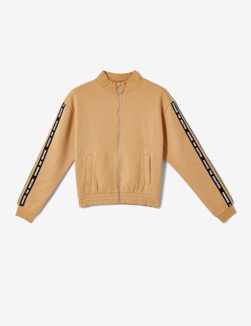 Beige zip-up sweatshirt with text design detail