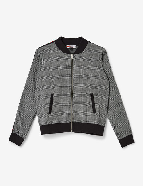 Grey and black zipped glen check sweatshirt