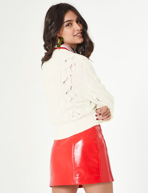 White cable and openwork knit jumper