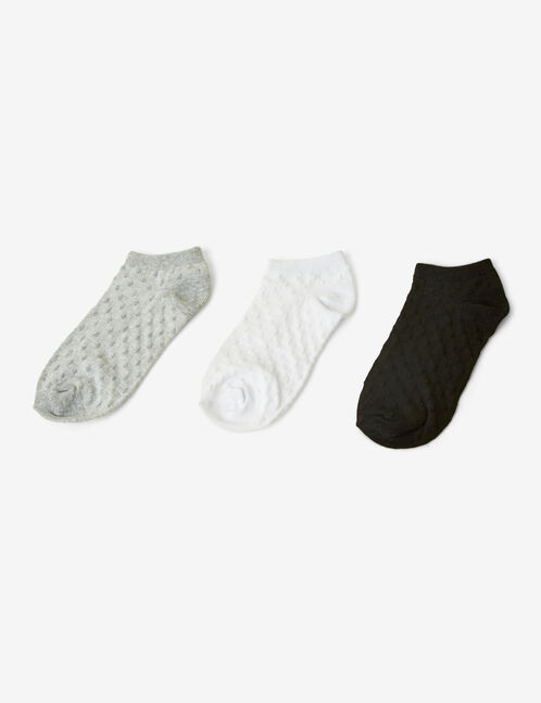 chaussettes à pois, blanches, grises et noires