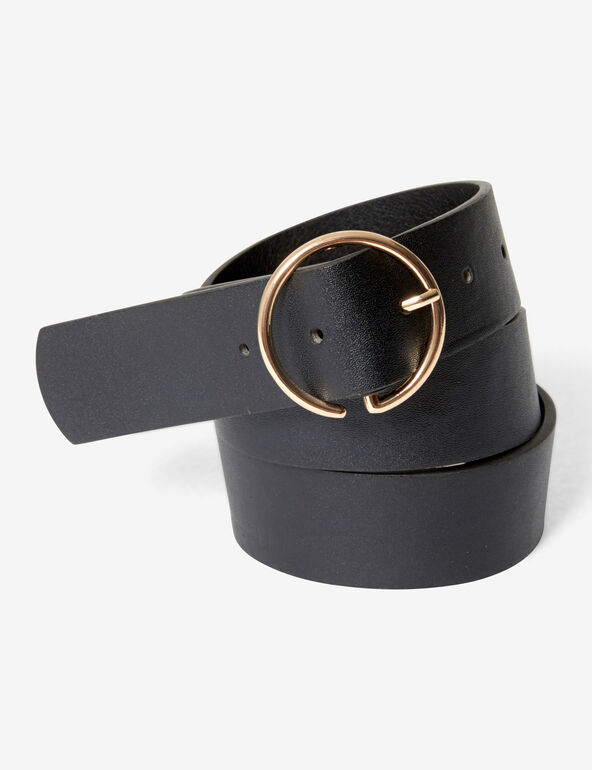 Belt with gold buckle.