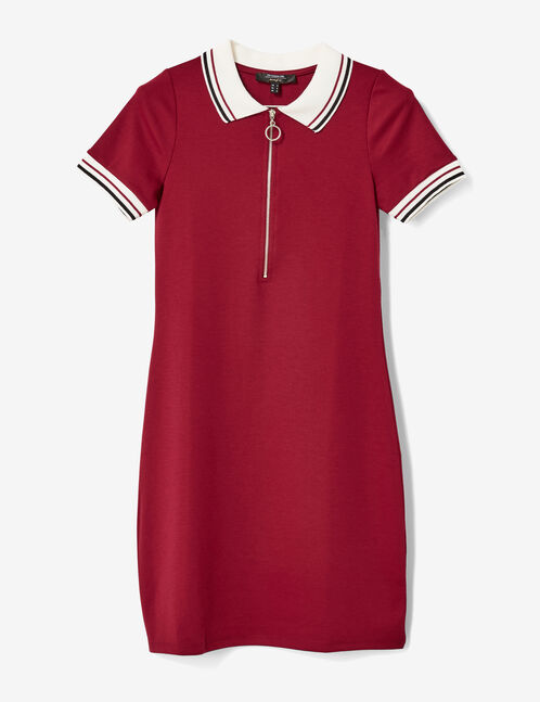 robe polo zippée bordeaux