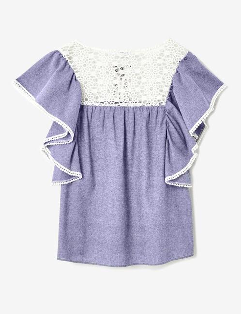 Indigo mixed fabric blouse