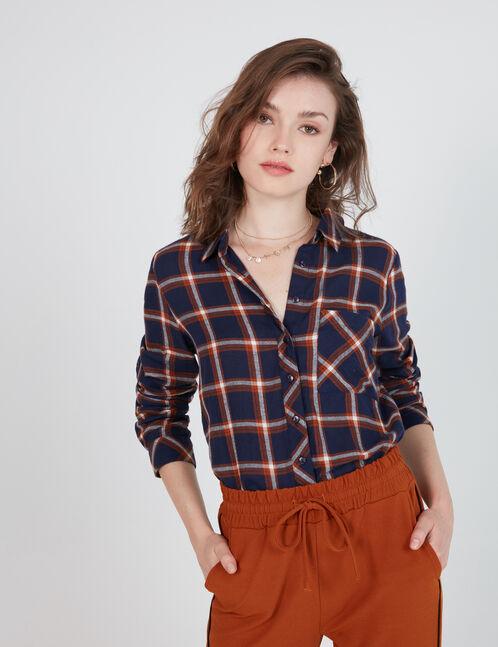 chemise courte à carreaux bleu marine, marron et blanche
