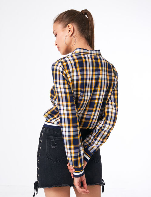 Yellow, navy blue and white checked zipped blouse