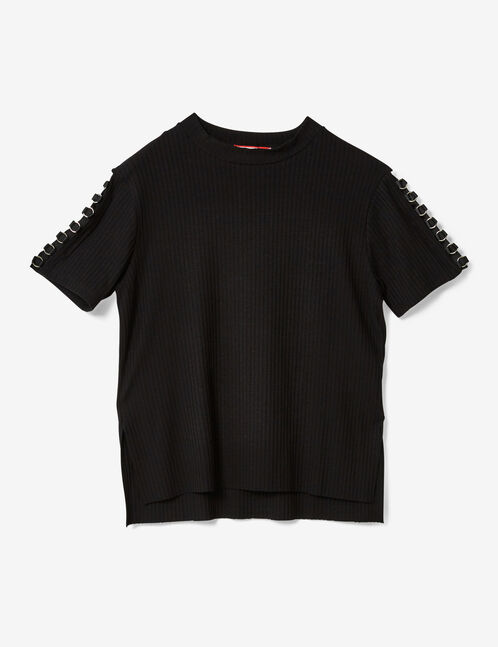 Black T-shirt with eyelet detail