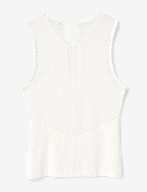 Cream tank top with dobby dot detail