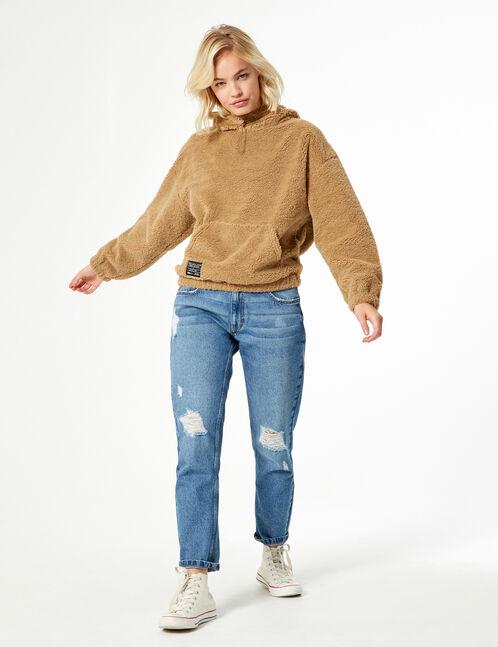 Faux fur sweatshirt
