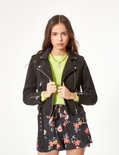 veste biker en suédine noire