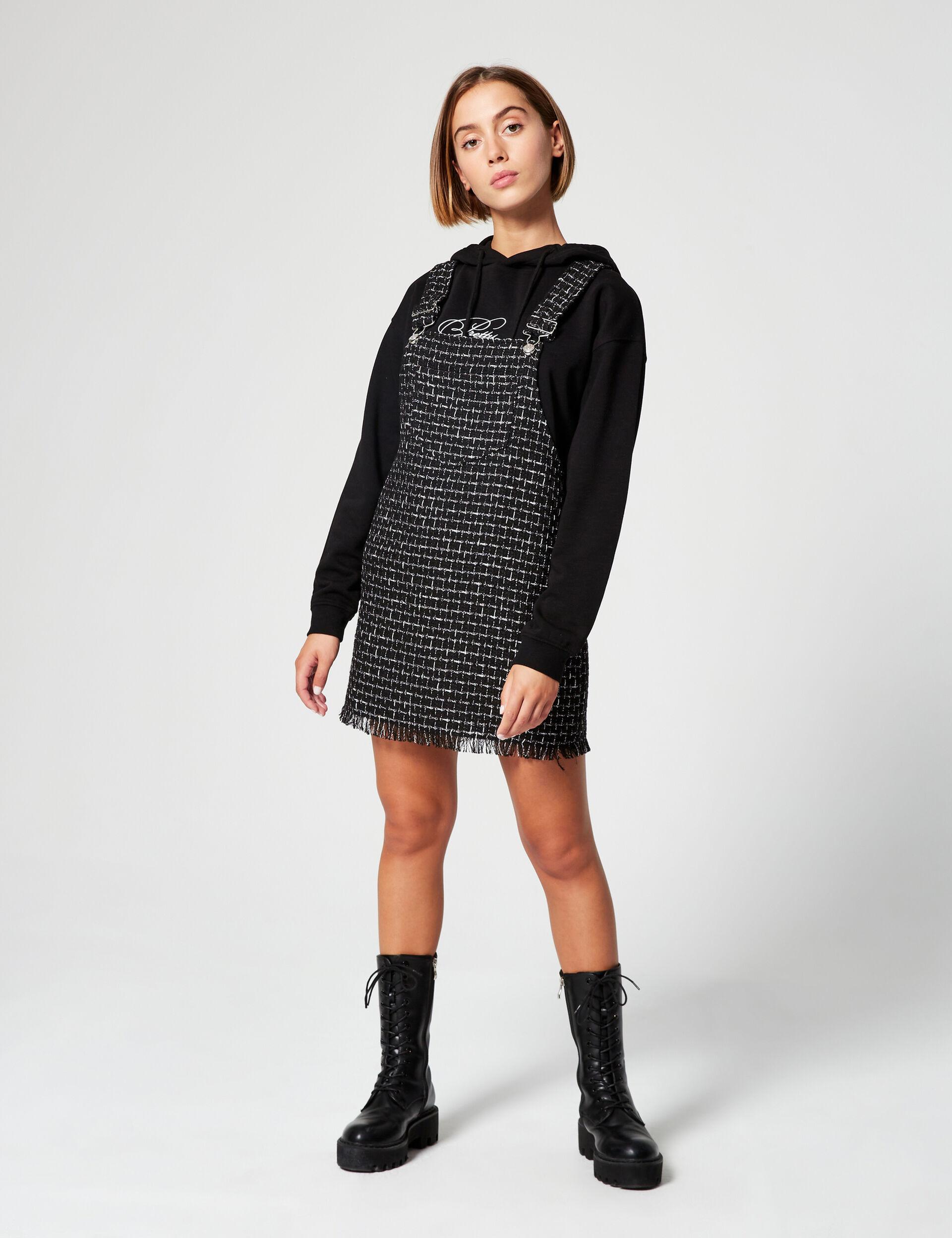 Tweed-effect pinafore dress