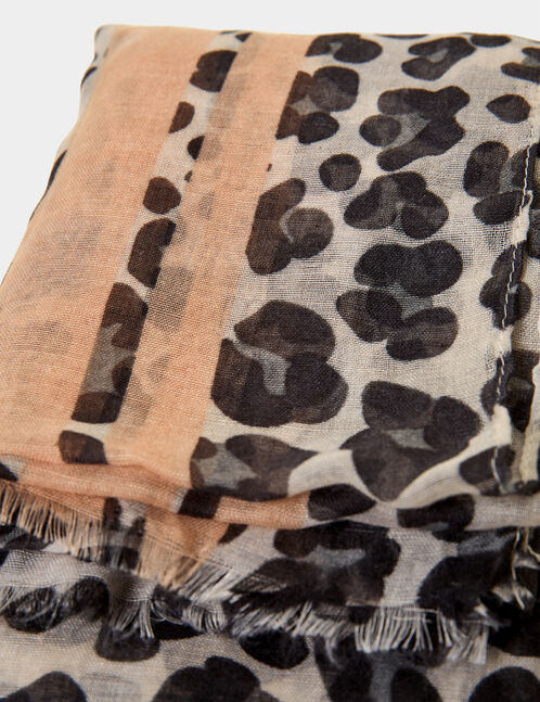 Beige, black and nude leopard print scarf