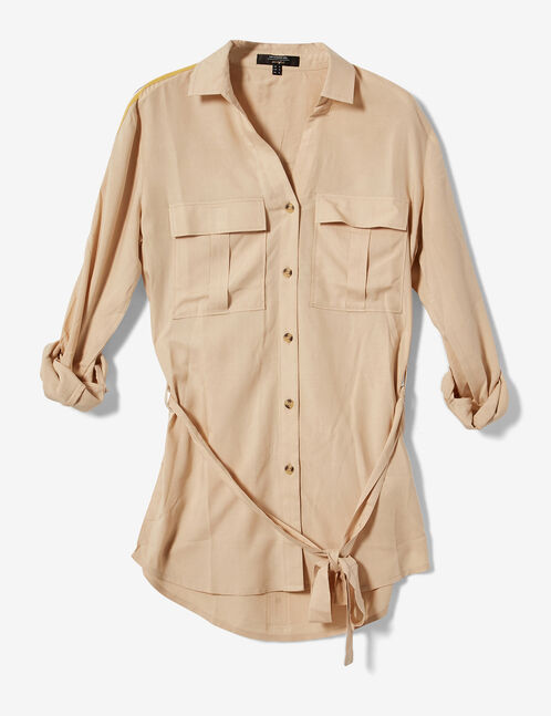 Long beige shirt with trim detail