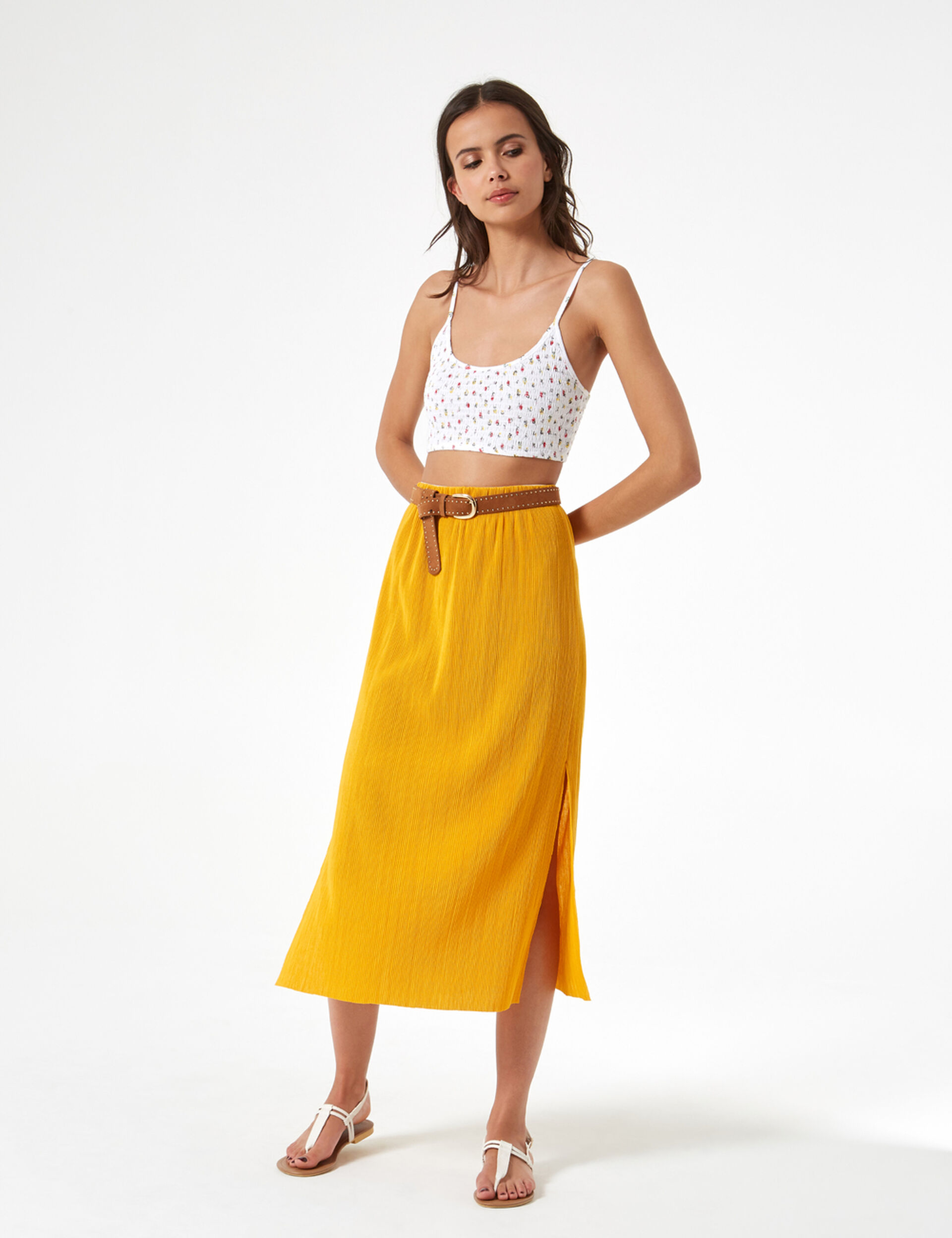 Crop top fleuri smoké