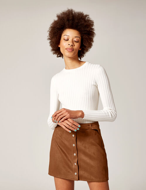 Camel faux suede skirt with belt