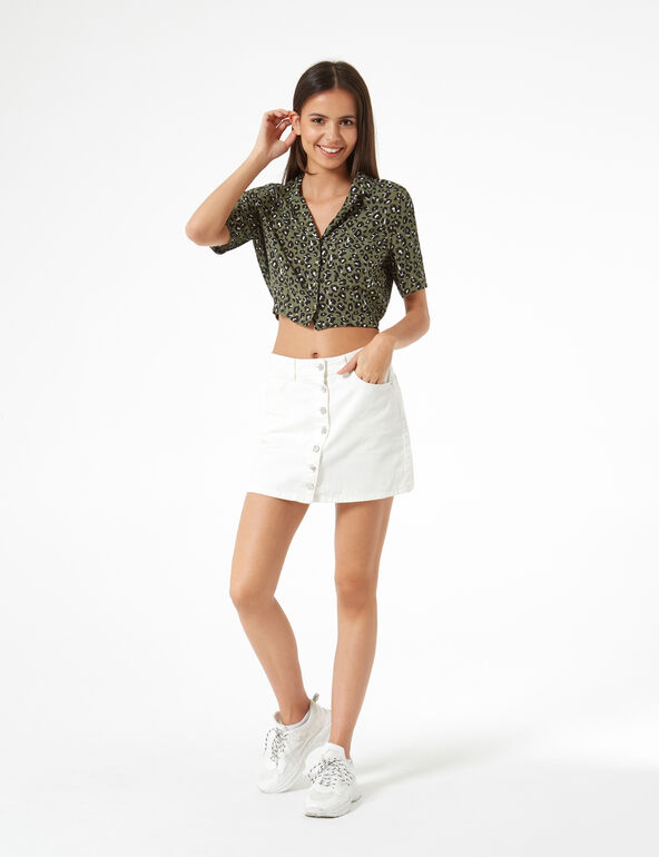 Cropped green leopard print blouse