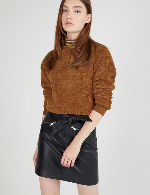 Camel faux fur sweatshirt with zip detail