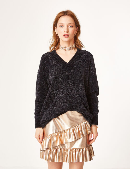 Long black chenille jumper