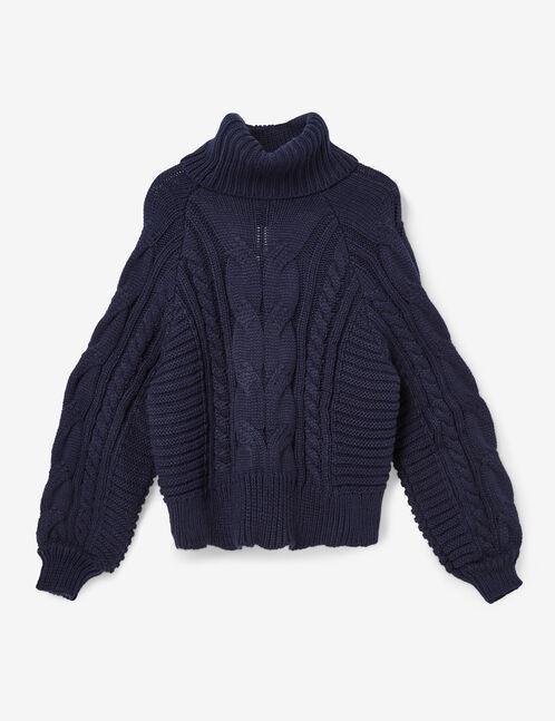 pull tressé col roulé bleu marine