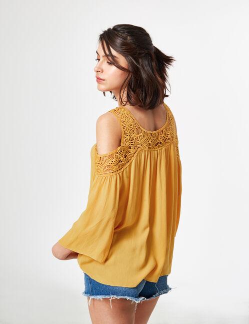 blouse avec macramé ocre