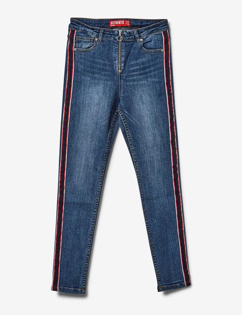jean zippée avec bandes medium blue