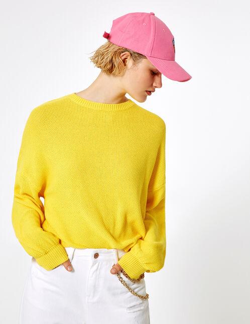 pull loose texturé jaune