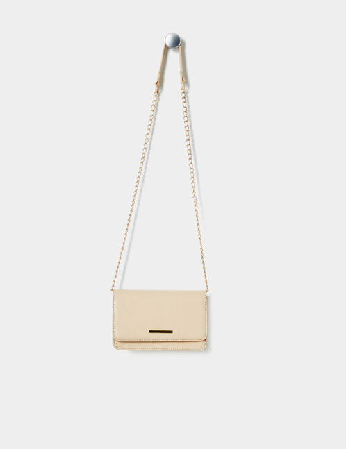 Beige cross-body bag with gold detail