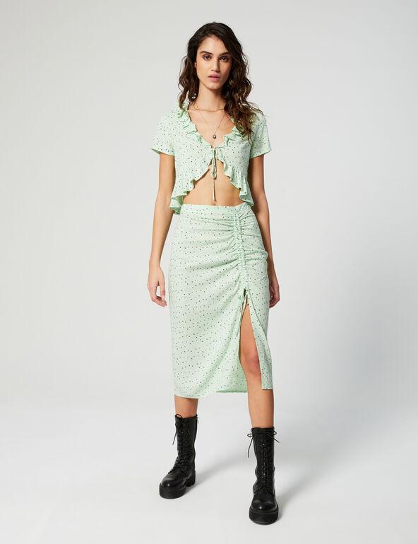 Printed frilled skirt