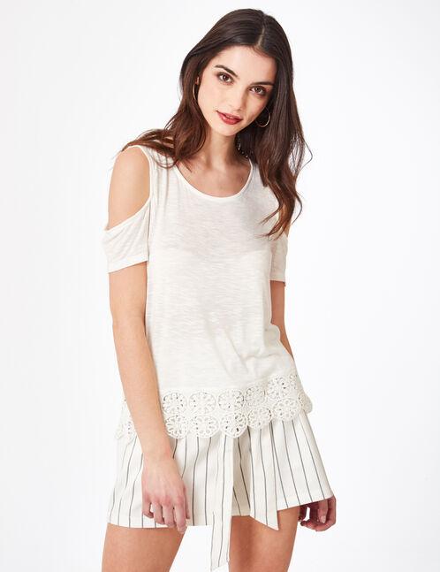 Cream cold shoulder T-shirt