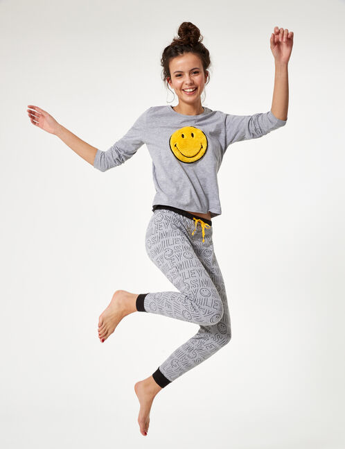Grey and black smiley face pyjama set