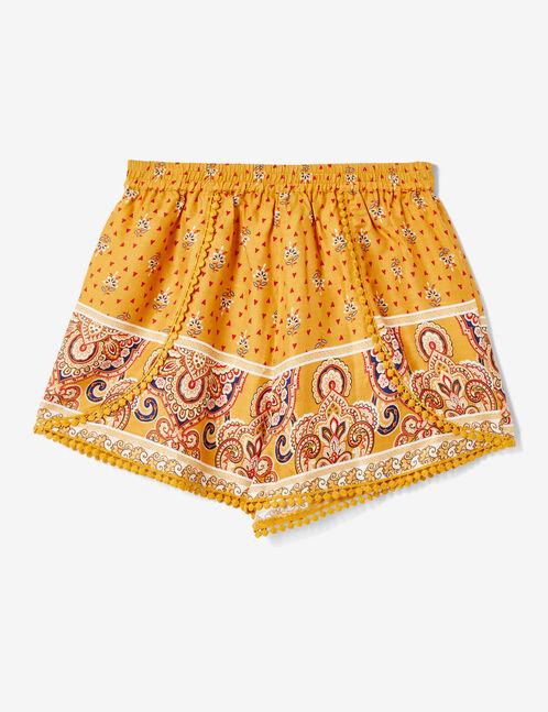 Ochre draped shorts