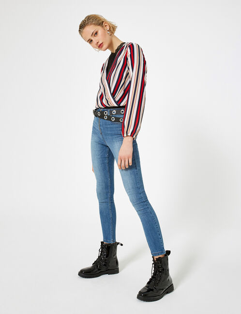 jean skinny zippé bleu clair