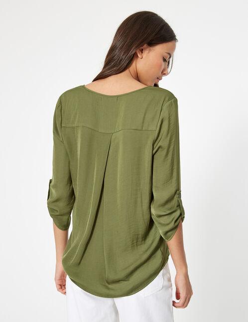 blouse touché satin kaki