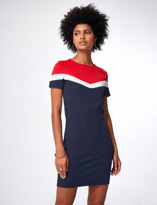 05d44f4d16108 robe tricolore bleu marine, blanc et rouge ...