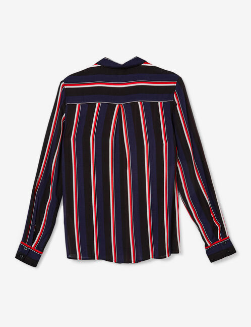 Navy blue, black, red and white striped shirt