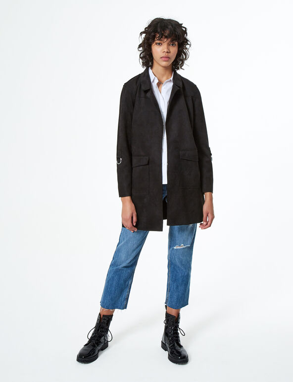 Long faux-suede jacket