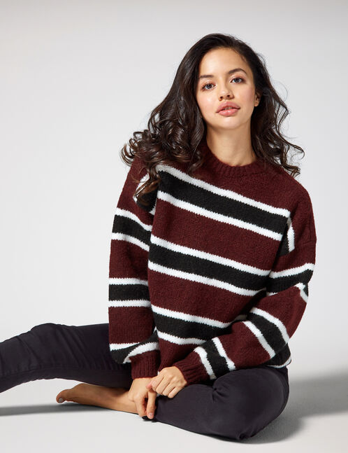 Plum, black and white striped jumper