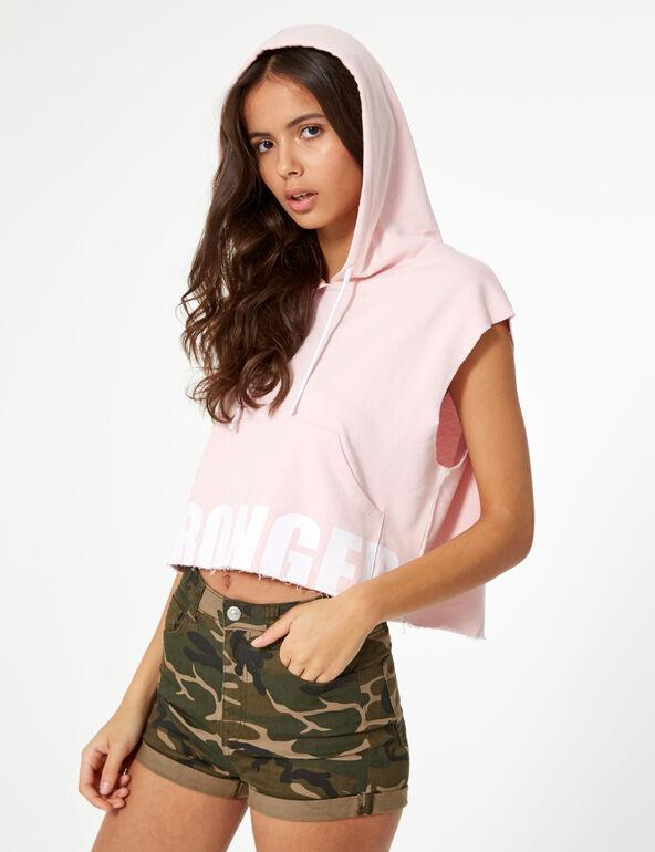 Sleeveless pale pink hoodie