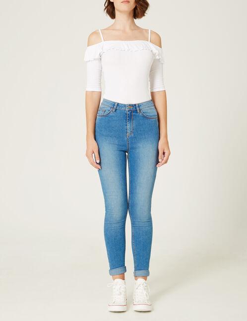 jean super skinny taille haute medium blue