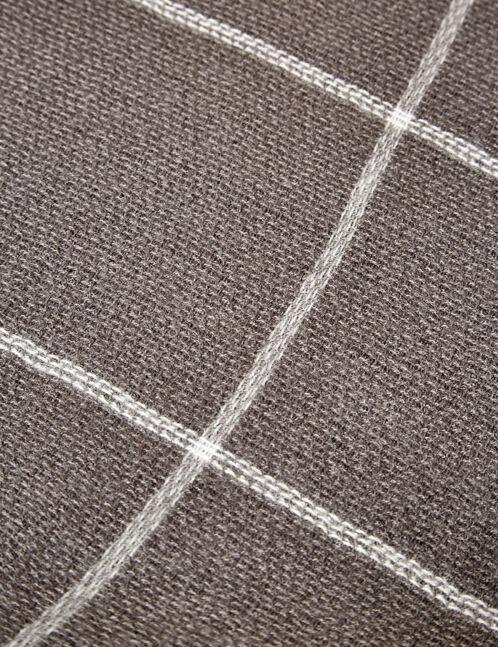 écharpe plaid gris chiné et écru