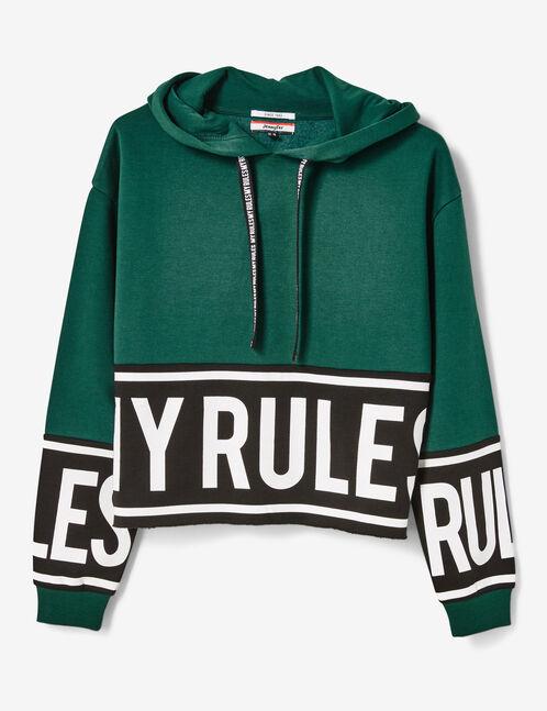 """Green """"my rules"""" hoodie"""