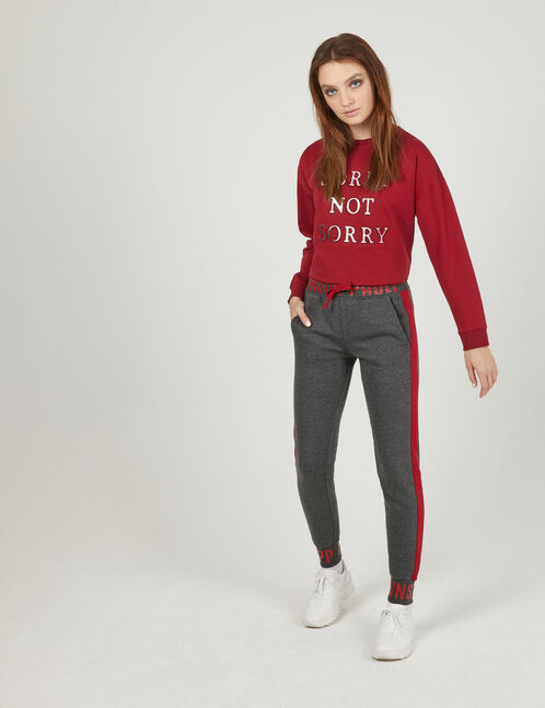 """Charcoal grey and burgundy """"unstoppable"""" joggers"""