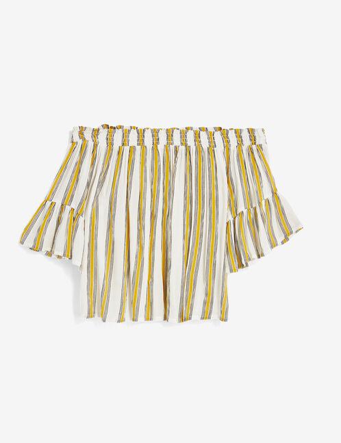 blouse épaules dénudées rayée écrue, jaune et noire