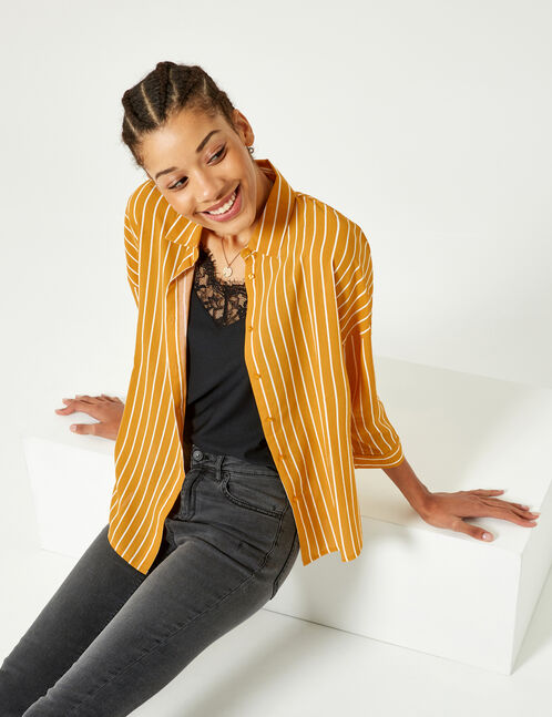 Ochre and white striped shirt
