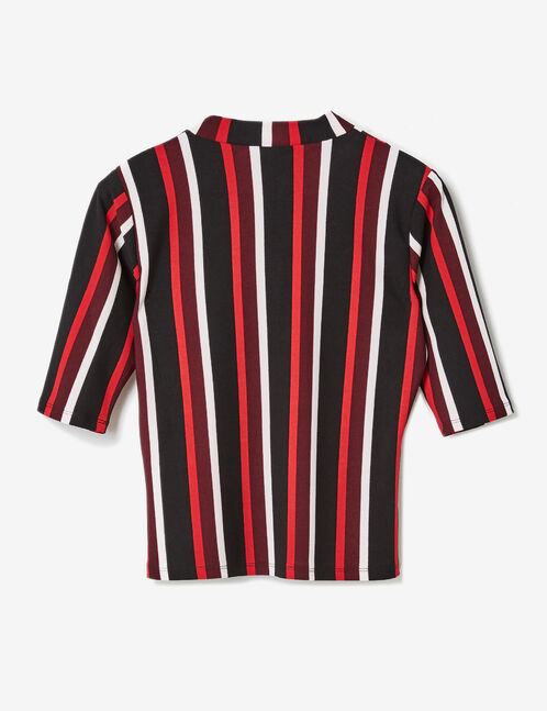 Plum, red, black and white striped T-shirt