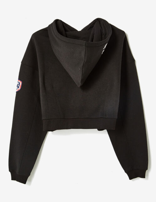 Black cropped hoodie with text design detail