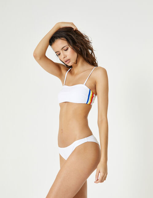 White bikini set with stripe detail