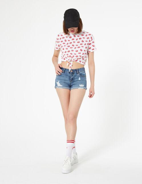 Blue low-rise denim shorts