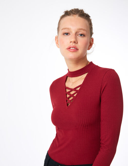 Burgundy bodysuit with lacing detail